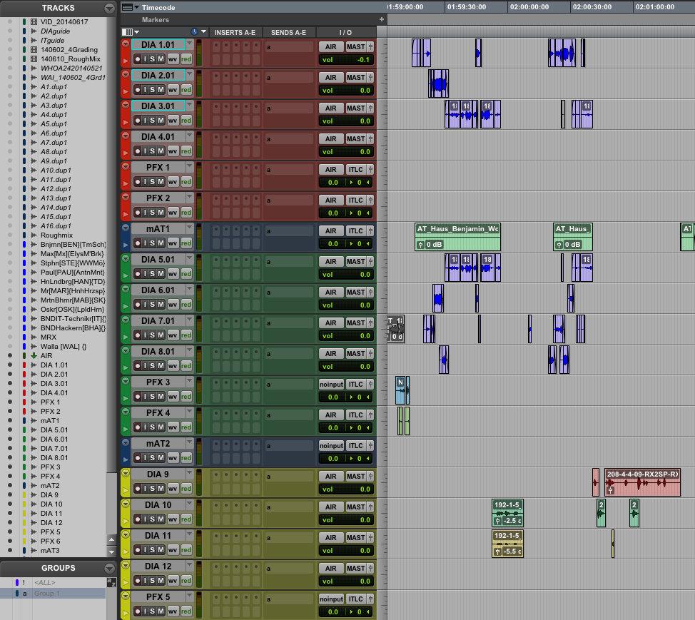 Spurenverteilung im Dialog Editing